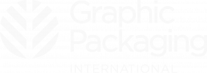 Logo de Graphic Packaging International, blanco